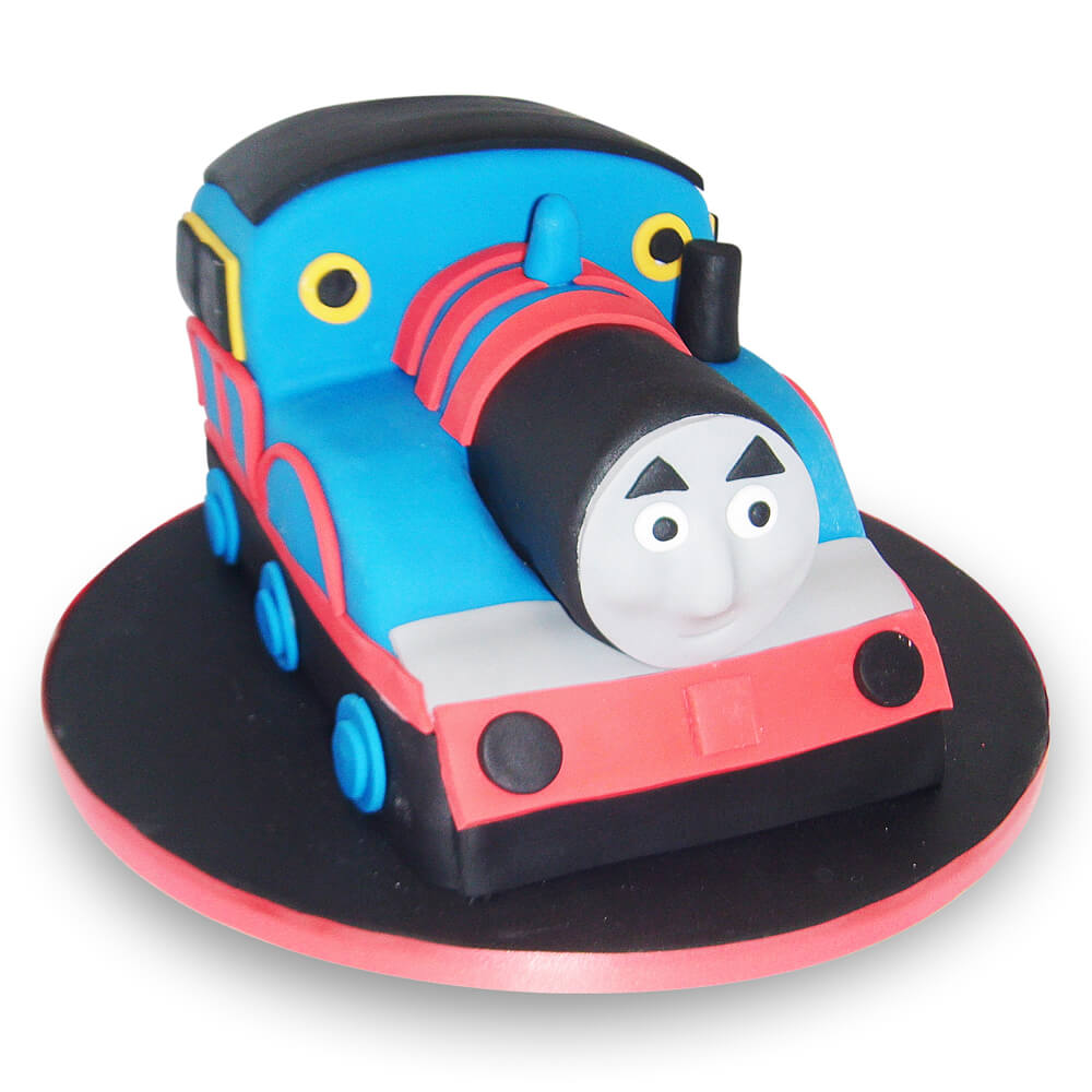 A cake in the shape of a train