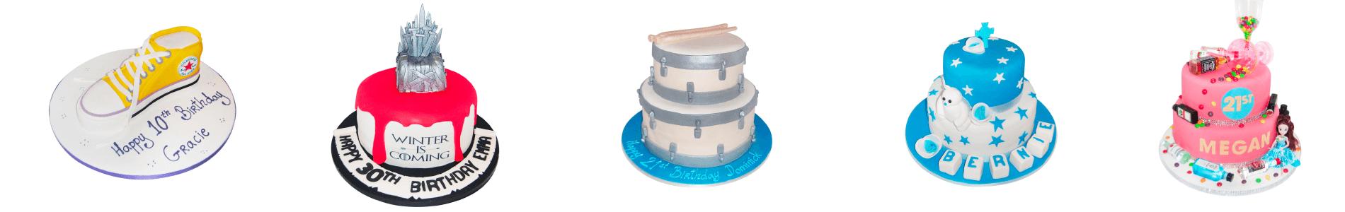 Five custom cakes