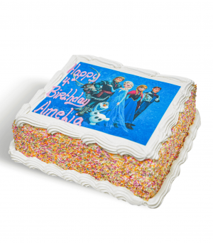 Birthday Cake With Image Of A Disney Movie Reading 'Happy Birthday Amelia'
