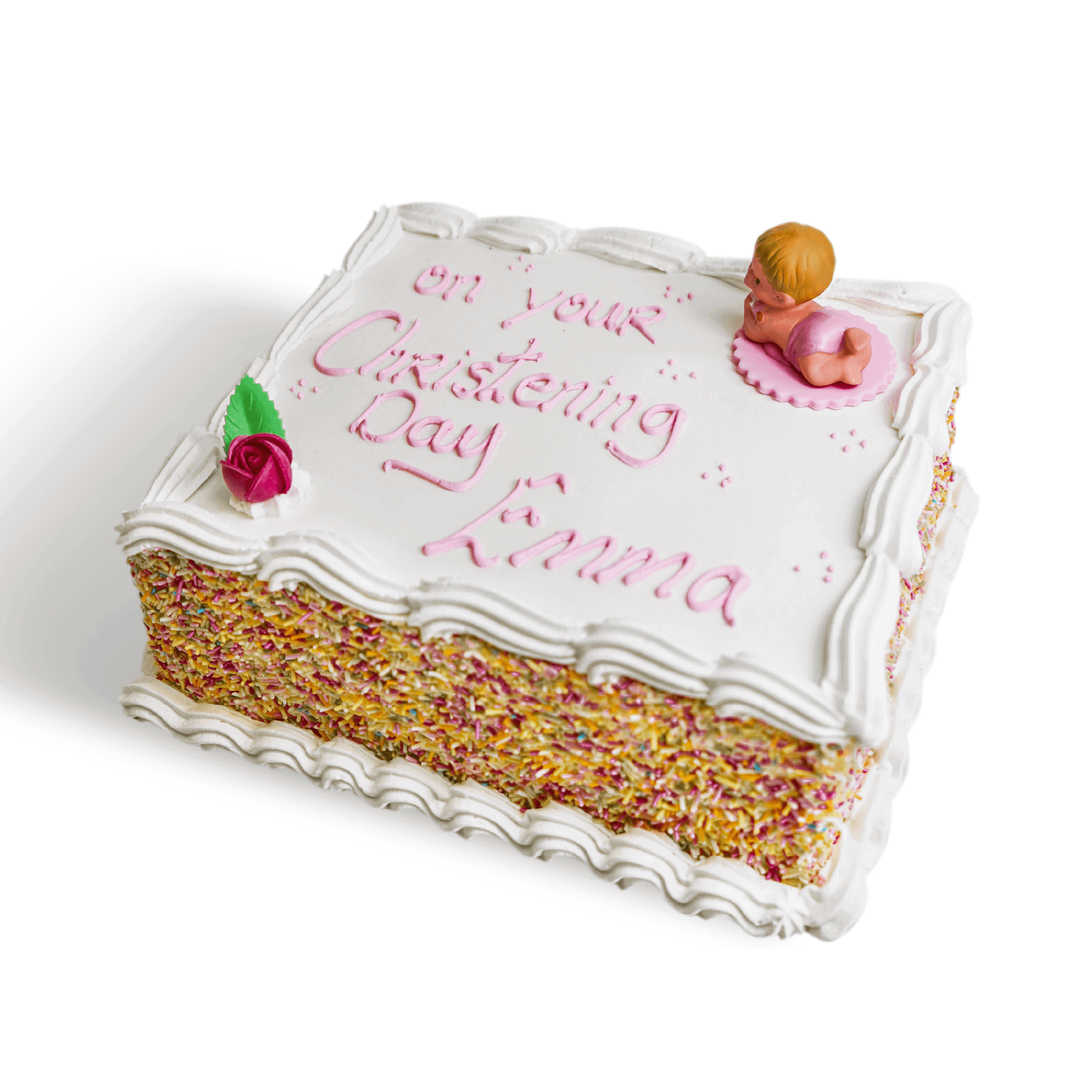 A white christening cake with sprinkles and pink decorations