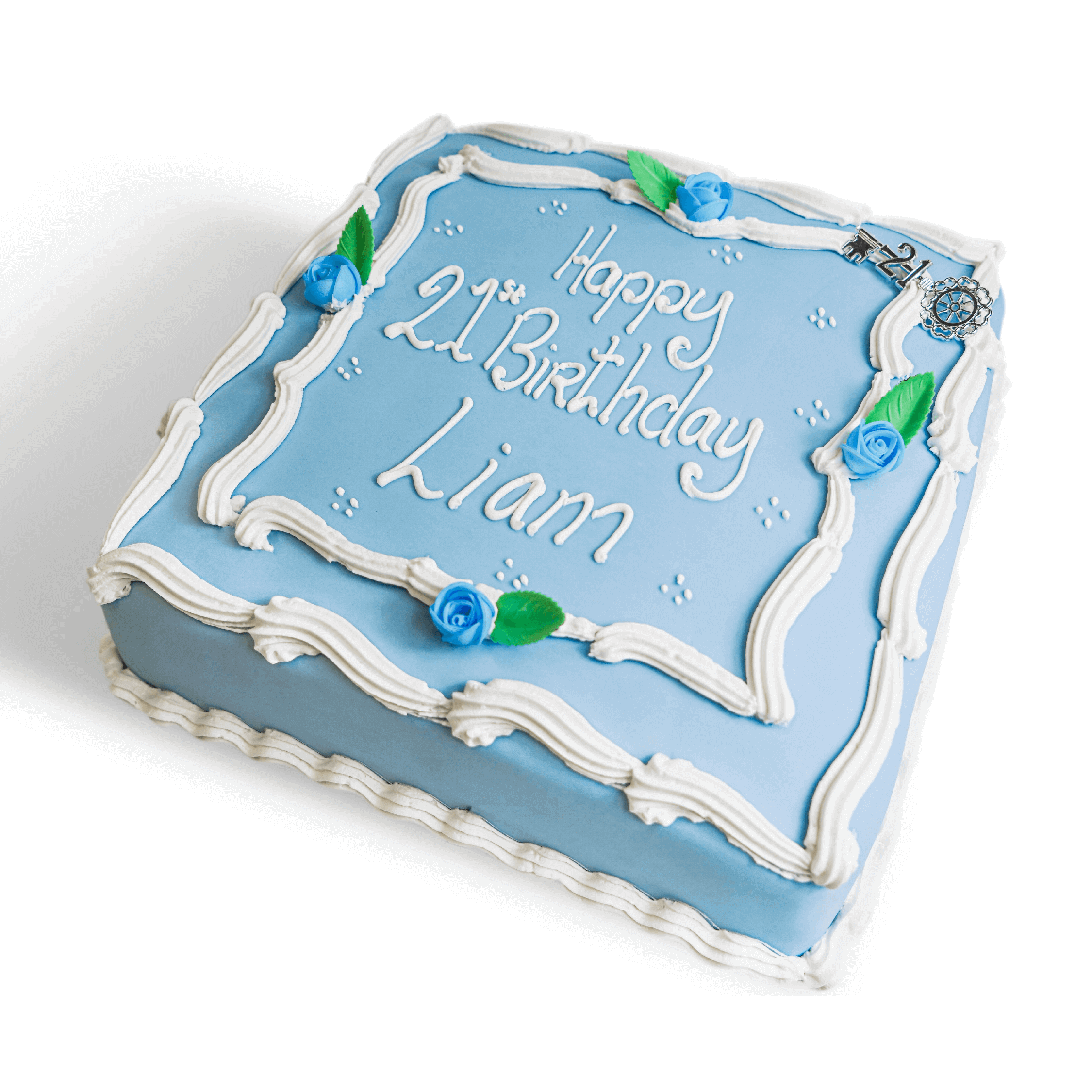 A blue birthday cake with white writing