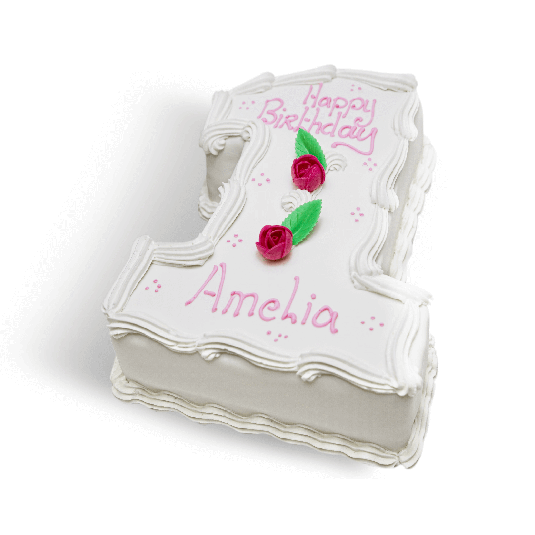 A white birthday cake with pink decorations in the shape of the number 1