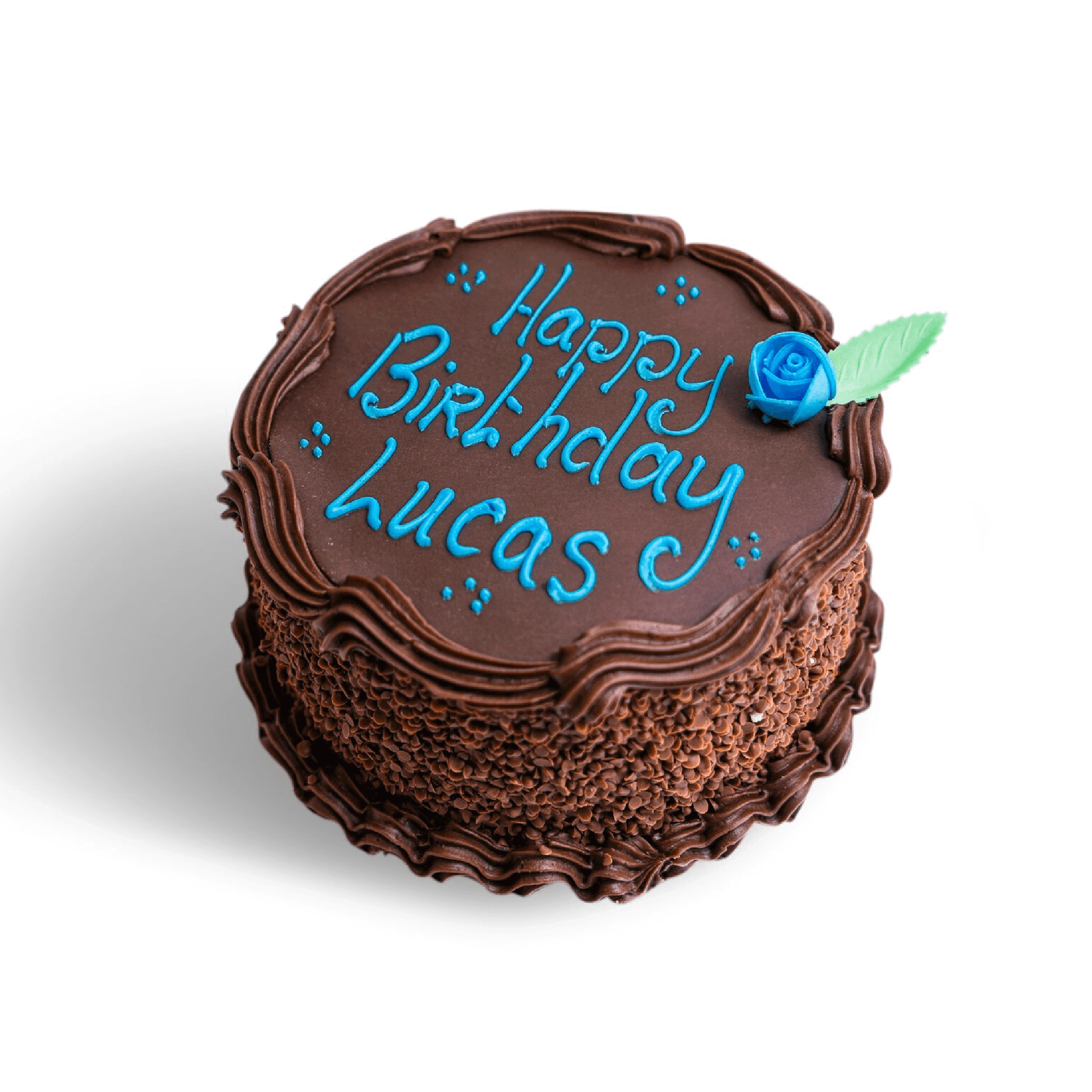 A chocolate birthday with blue writing