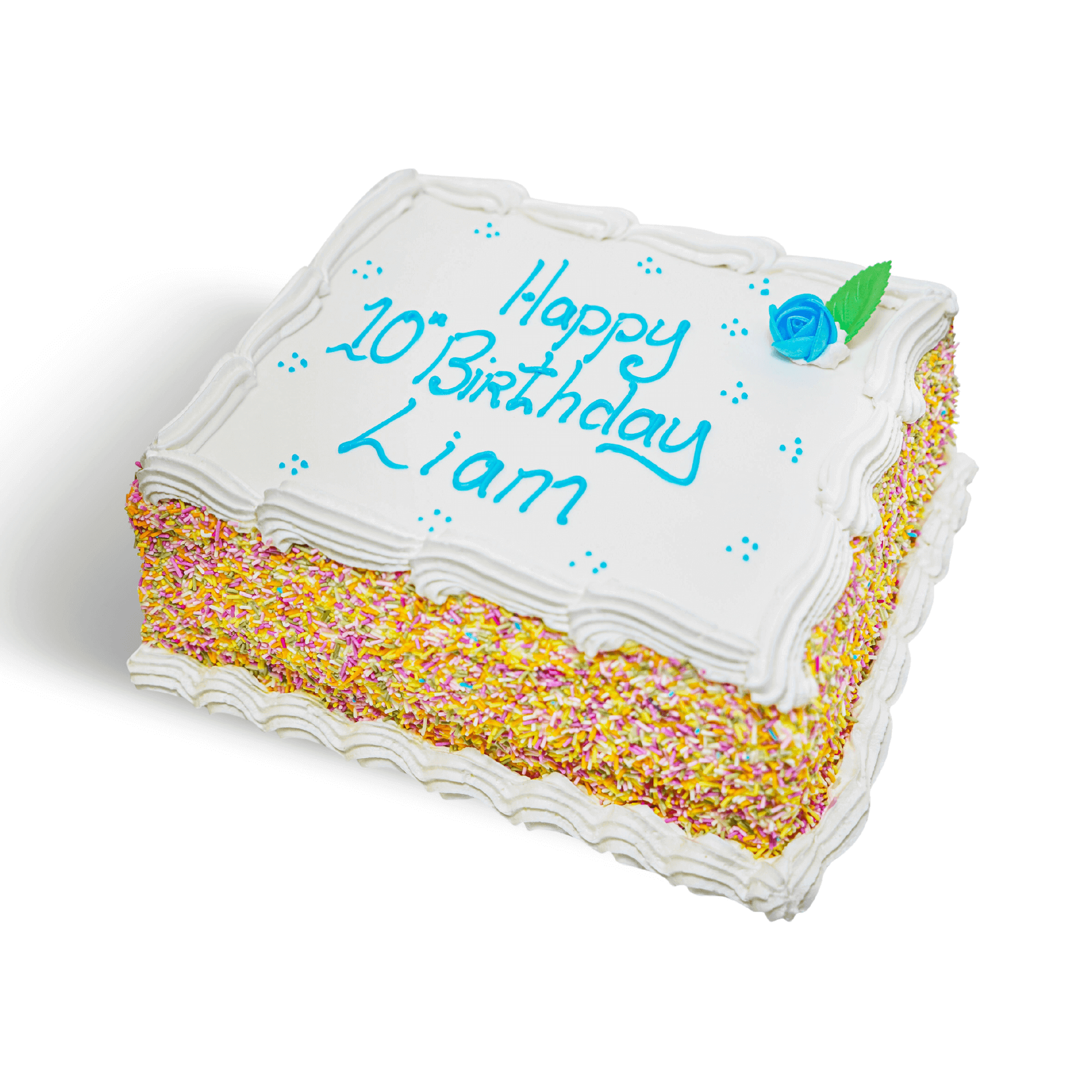A white birthday cake with blue writing and coloured sprinkles