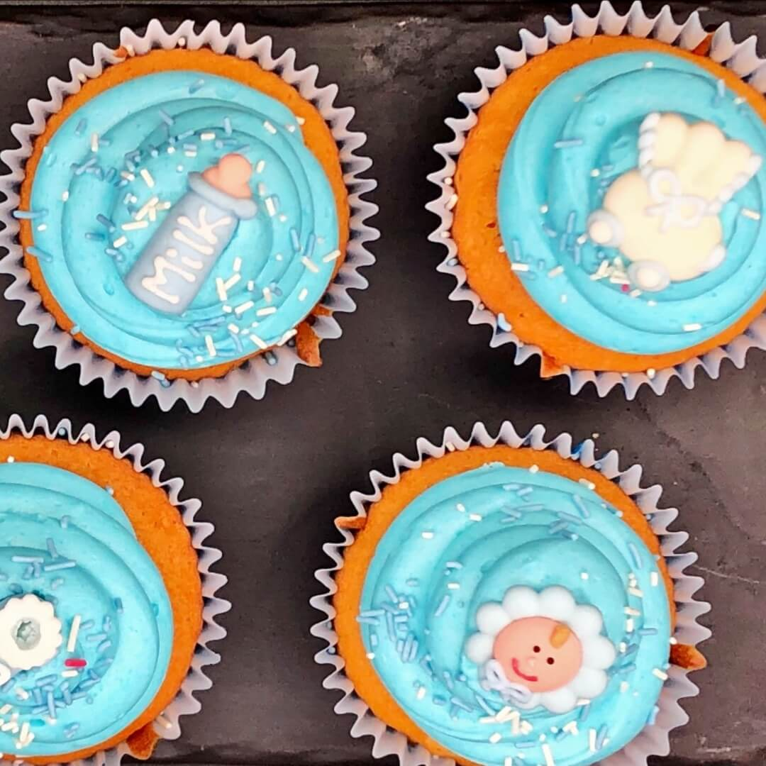 Blue Christening Cupcake (Box Of 6 Or 12)
