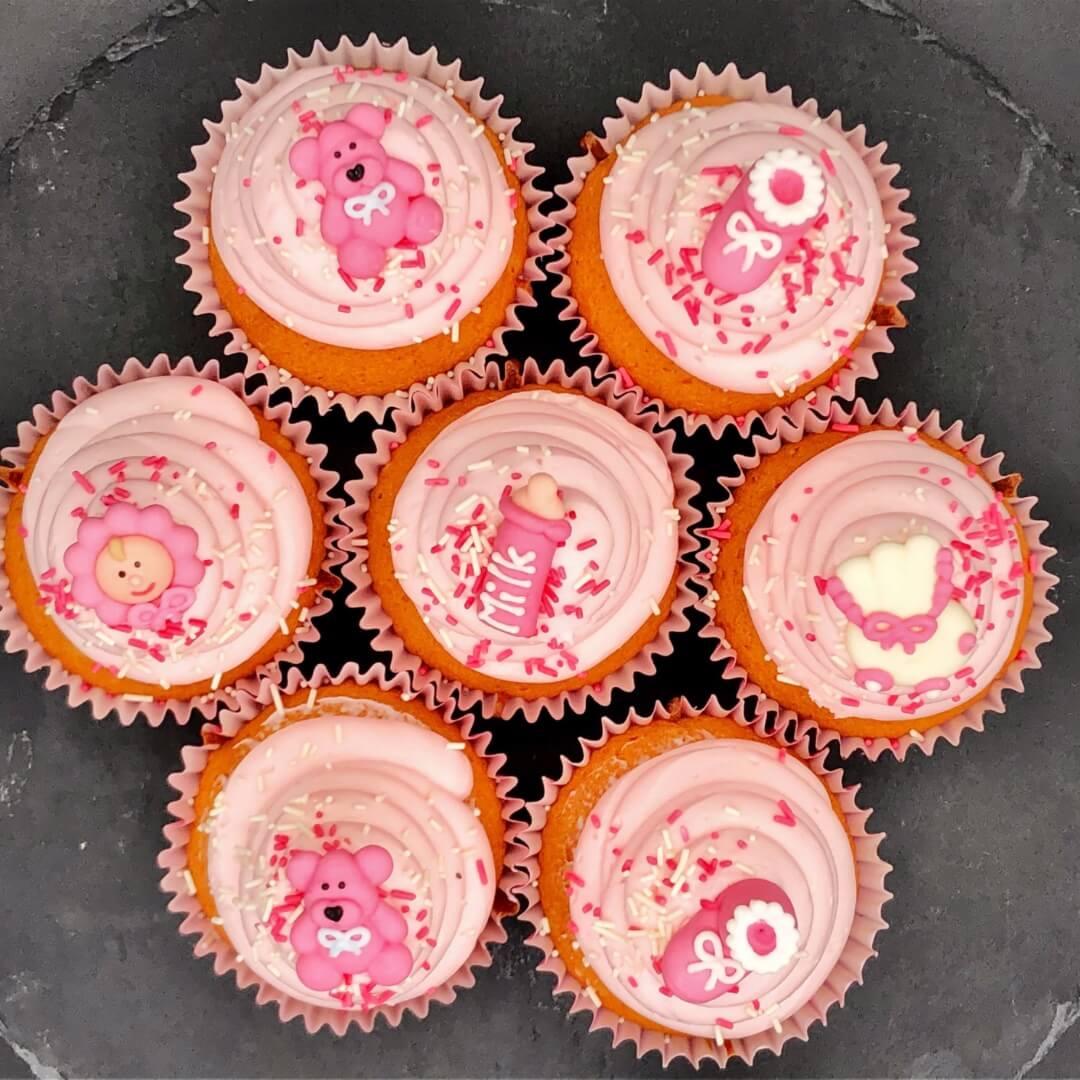 Pink Christening Cupcake (Box Of 6 Or 12)